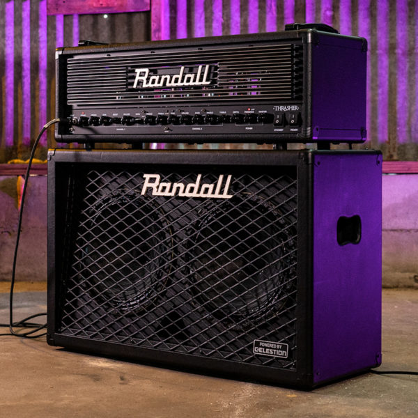 front/side view of Randall cabinet with amplifier head