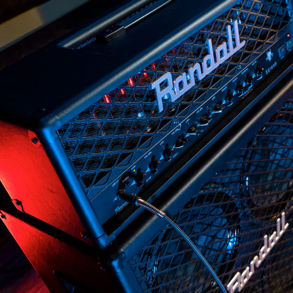 closeup of Randall amplifier head on top of Randall amplifier