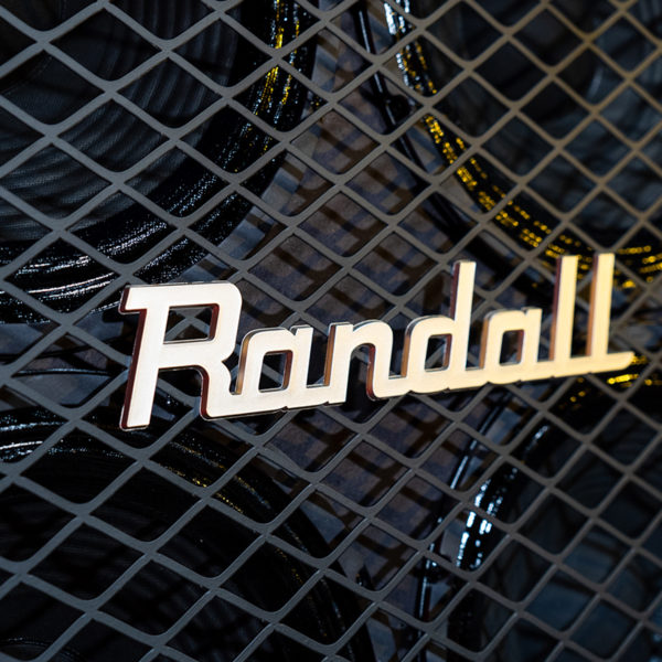 closeup of Randall logo on amplifier