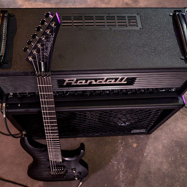 top view of Randall Thrasher Tube Amplifier and electric guitar