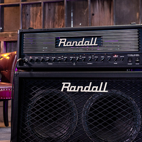 black Randall cabinet and Thrasher Tube Amplifier