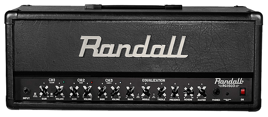 black and silver Randall amplifier head