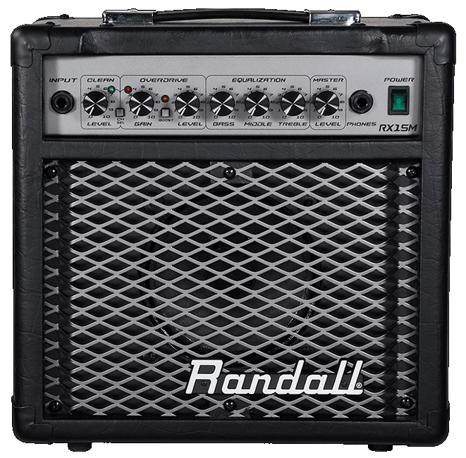 black and silver Randall amplifier