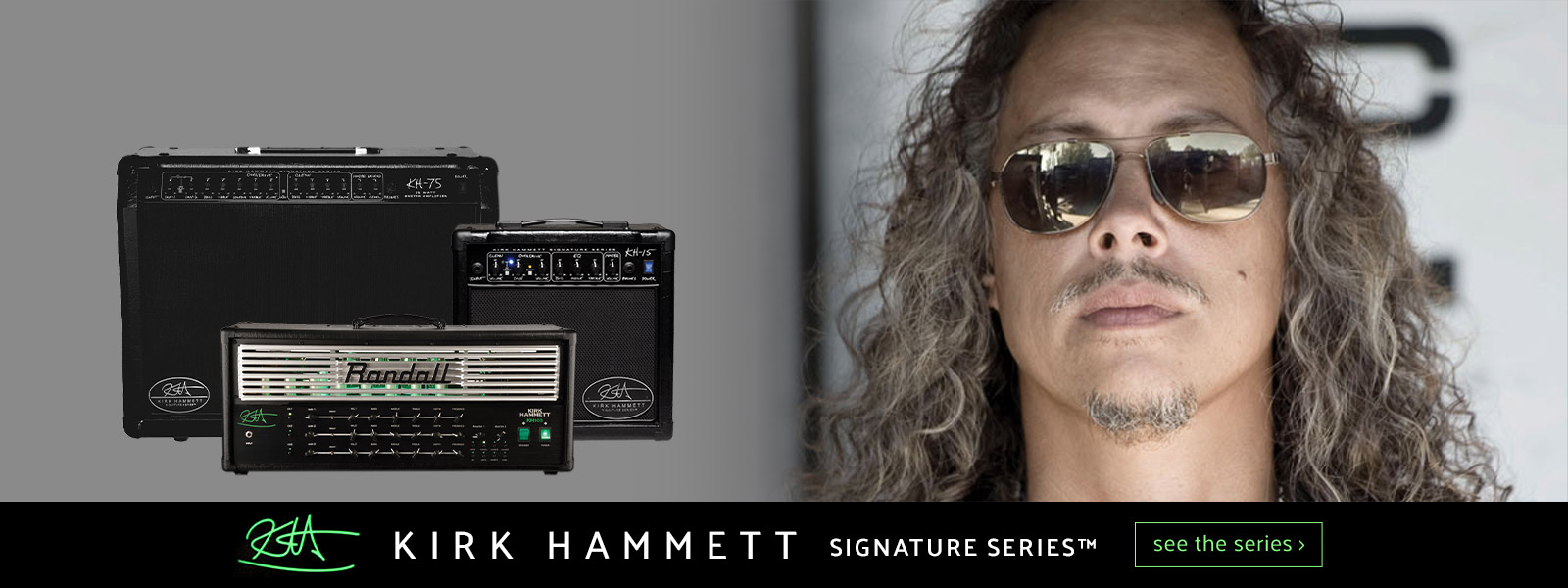 partial view of Kirk Hammett's face next to 3 of his signature Randall amplifiers